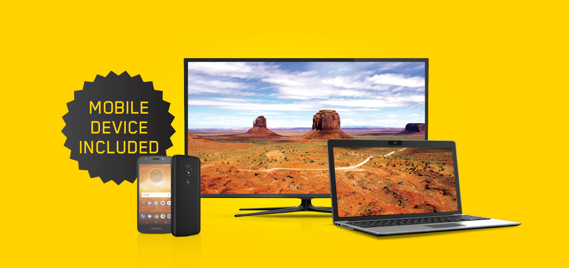 Mobile plan and device included when you sign up for Unlimited 400 Internet + All-In TV bundle.