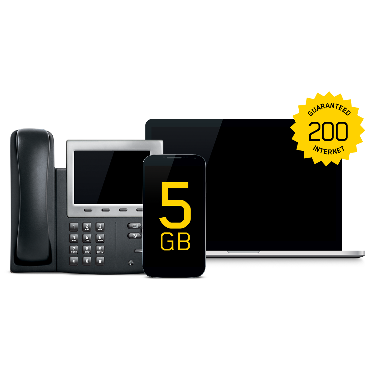 GUARANTEED 200 INTERNET + 5 GB MOBILE + OPTIMIZED BUSINESS LINE